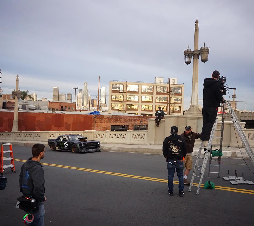 Behind-the-scenes shot from on set at the commercial shoot this morning. We were on the offramp of the 6th Street Bridge in downtown LA - and one of the props on set is a favorite of mine: my Ford Mustang Hoonicorn RTR that I used in this same location...