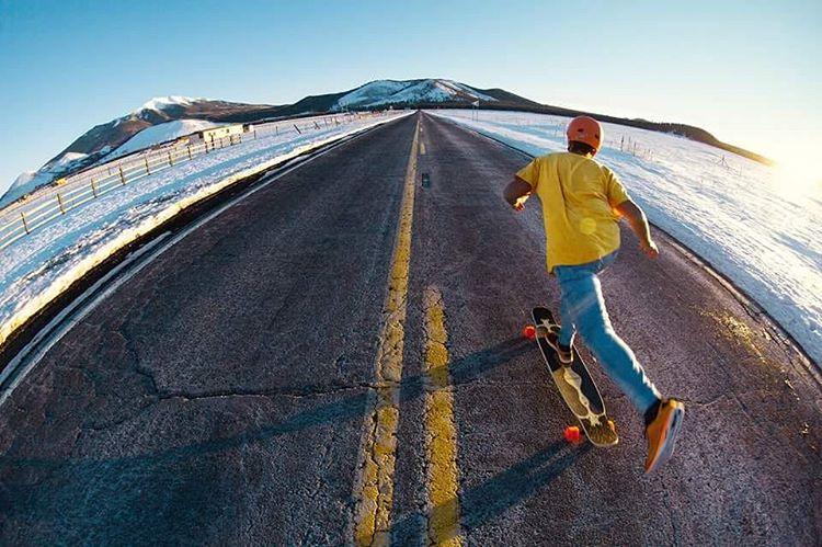 @christianrosillo goes for an endless push through the snow caked desert of Arizona.  Photo: @marrulepaiola  #LoadedBoards #Bhangra #Arizona #Orangatang #Orange #stimulus
