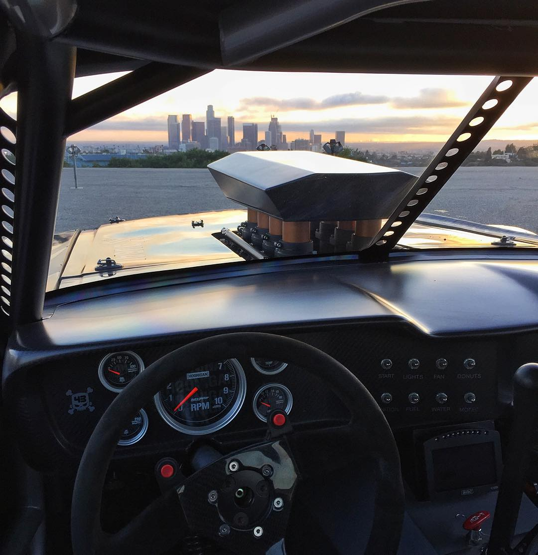 On set at my final film location for this commercial today: A very nice sunset view out of the front windscreen on my Ford Mustang Hoonicorn RTR overlooking Los Angeles. #dtla #ITBs #Hoonicorn