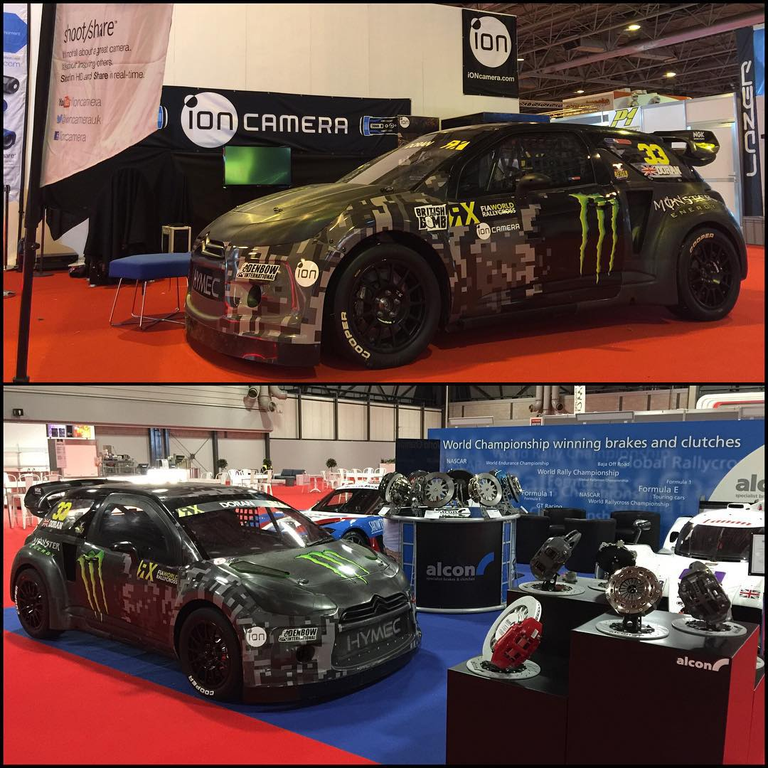 Spot the difference........well one is on the @ioncamera stand and one is on the @alconbrakes stand and that's about the only difference.  My 2 DS3 RX SuperCars are both on display here at @autosport_international show, come check them out.