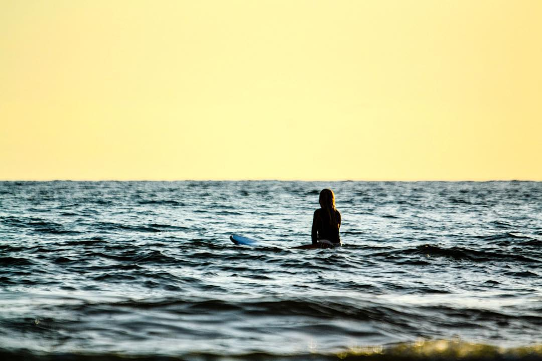 On the list of things we are grateful for: being able to watch the beautiful sunset while waiting for the next wave...