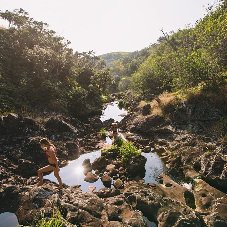 Red river pools above the 100' falls, chasing the afternoon upstream with @alisonsadventures shot by @hisarahlee