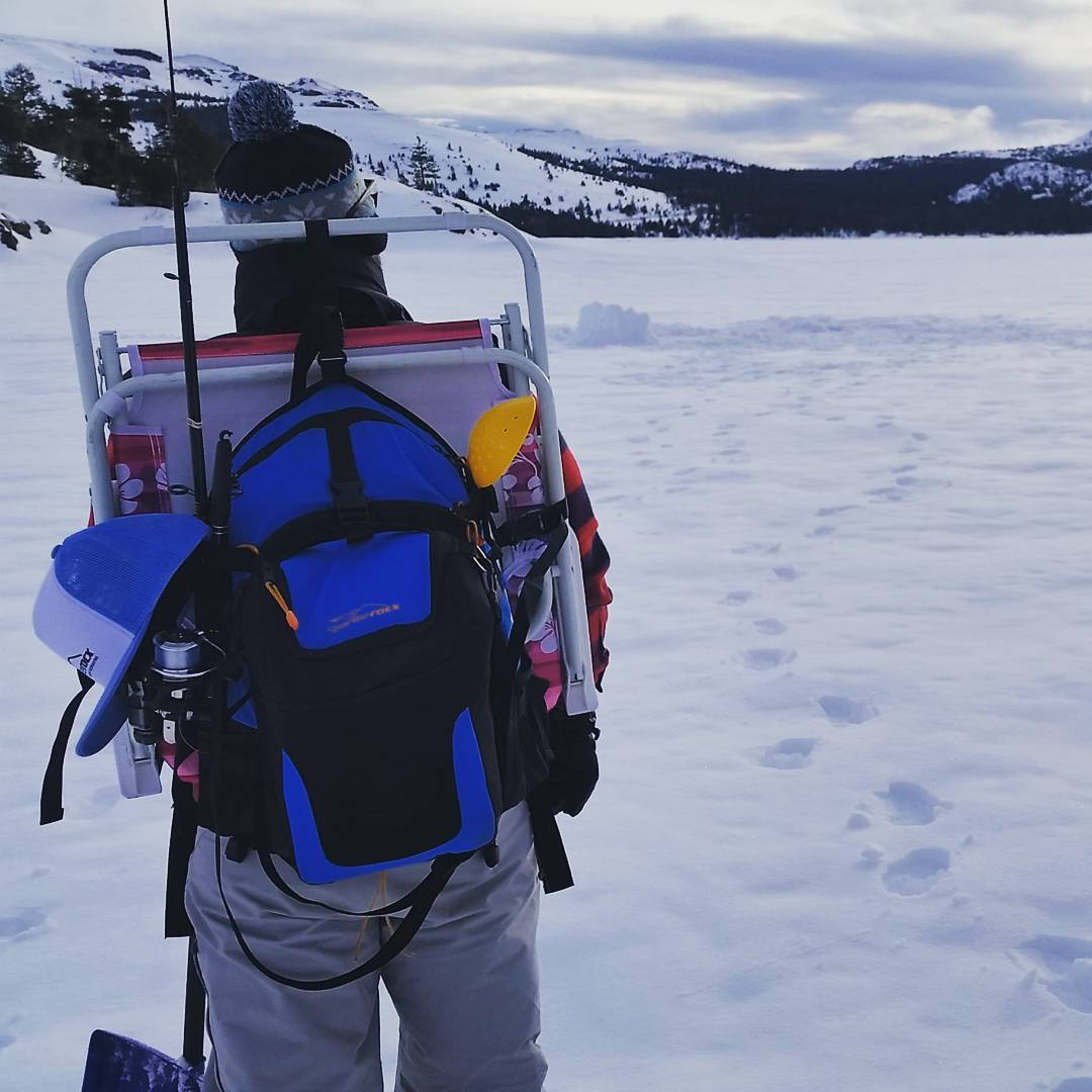 Ice fishing today with the Cascade pack and cooler.  #icefishing #capleslake #getoutside #noluck #graniterocx