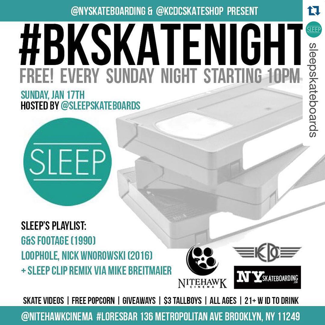 Hope to see the ladies there tonight ・・・ Tonight in Brooklyn @ Lo-Res Bar/NiteHawk Cinema! Free videos, popcorn & giveaways! Come out! #sleepskateboards #sleep #sleepskate #bkskatenight #nyskateboarding #nyc @nyskateboarding @sleepskateboards