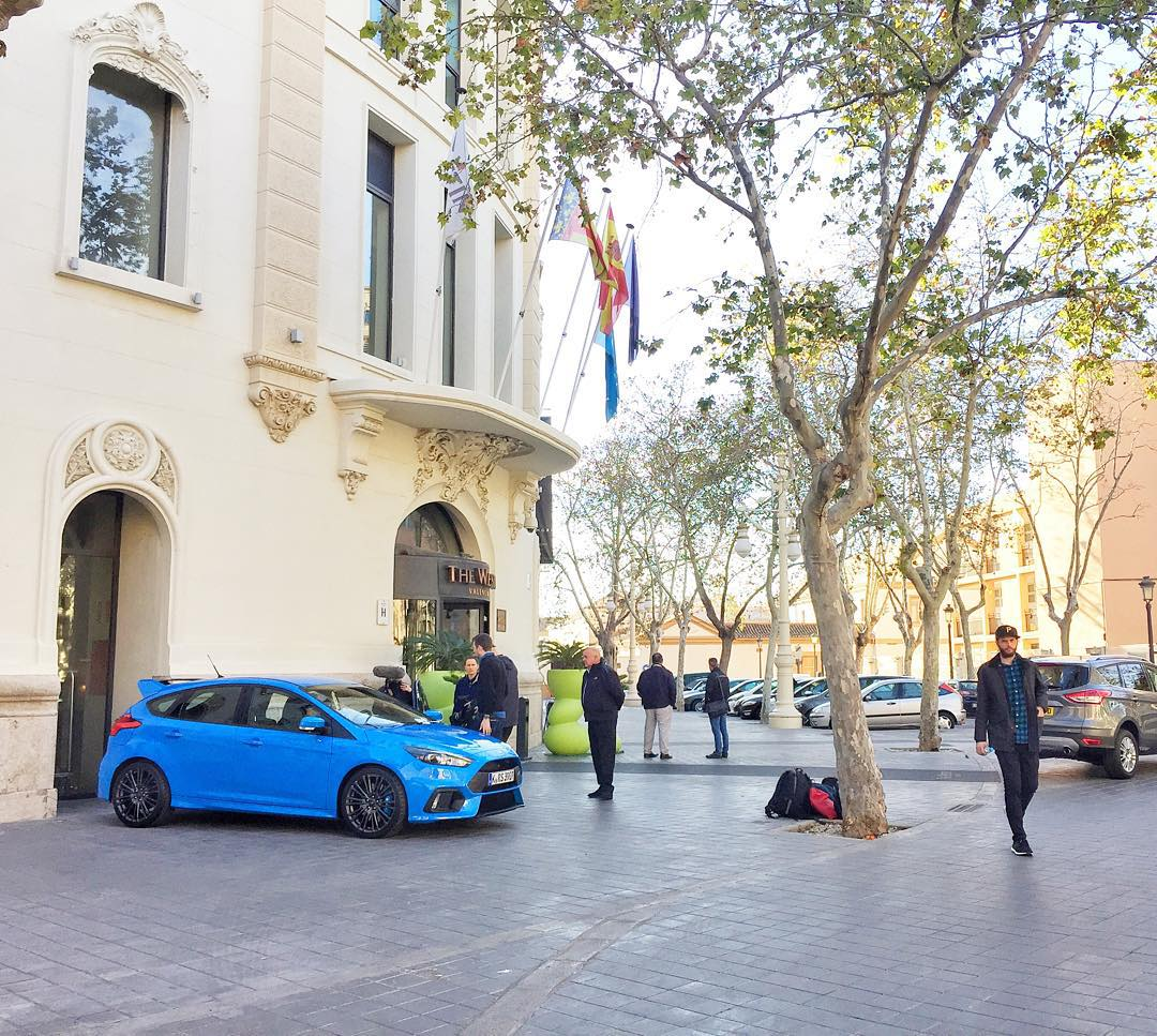 "Woke up here in Valencia this morning, stepped outside of the hotel and was greeted by this: a brand new Ford Focus RS! This will be the car I'll be abusing on the mountain roads around here today. Can't wait, should be an awesome ""work"" day. #FocusRS..."
