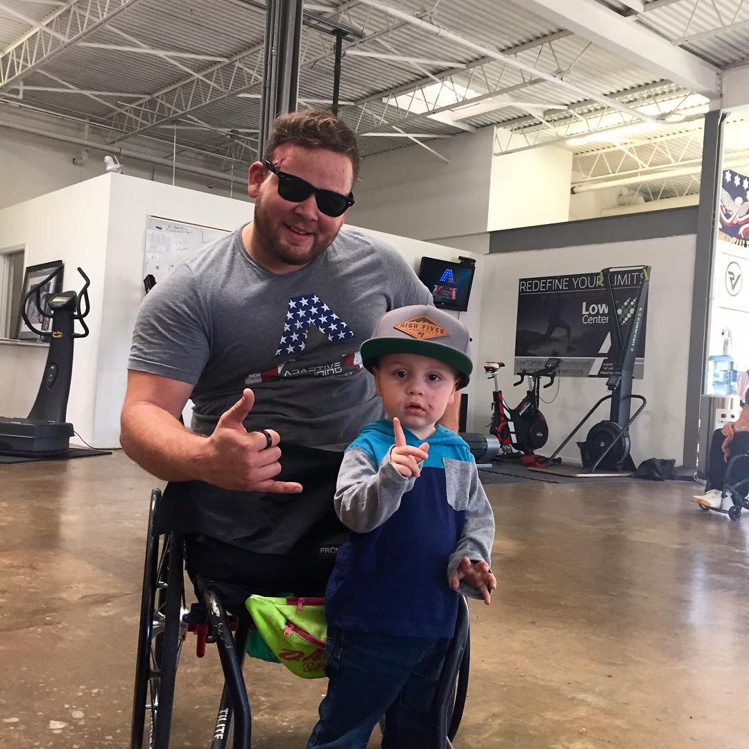 #highfivesathlete @LRGreen88 and his brother's son, Gunner!  Lawrence lost his legs in a motorcycle accident after serving numerous tours over seas. He has never skied. Today he is starting a nine week training course through #militarytothemountains to...