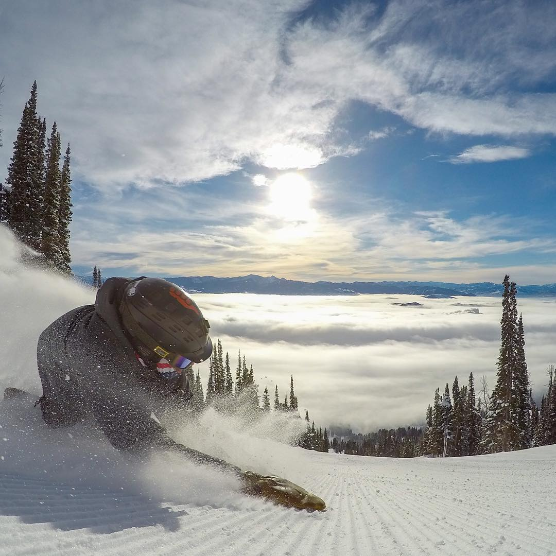 Carving above the clouds at @jacksonhole! What a perfect day on the mountain. #GoPro #JacksonHole #jhdreaming