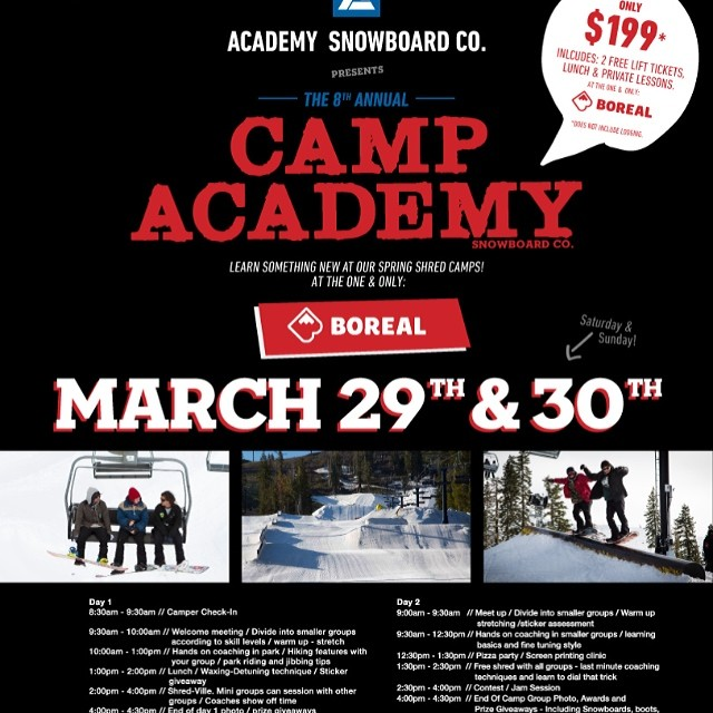 Only 24 more hours to register for Camp Academy @borealmtn @woodwardtahoe ... Don't miss out on an epic shred session this weekend!! #snowboard #campvibes #shreducation
