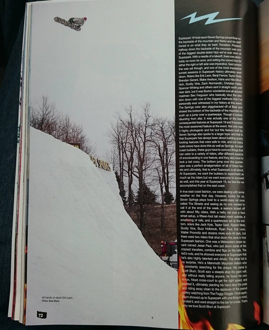 Big congratulations to @ErikLeon_ for this gigantic hip shot in the @SnowboarderMag #Superpark19 issue!