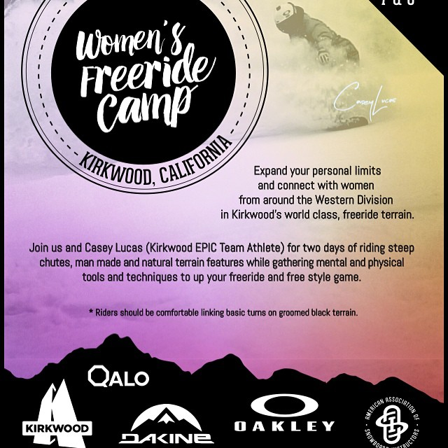#aasi Freeride Camp is back @kirkwoodmtn and it's now a two day event! February 7 and 8th we will be crushing the big mountain terrain at Kirkwood! Lea Logal and I have worked hard to make this event better then ever! Thanks to @dakine, @oakley, and...