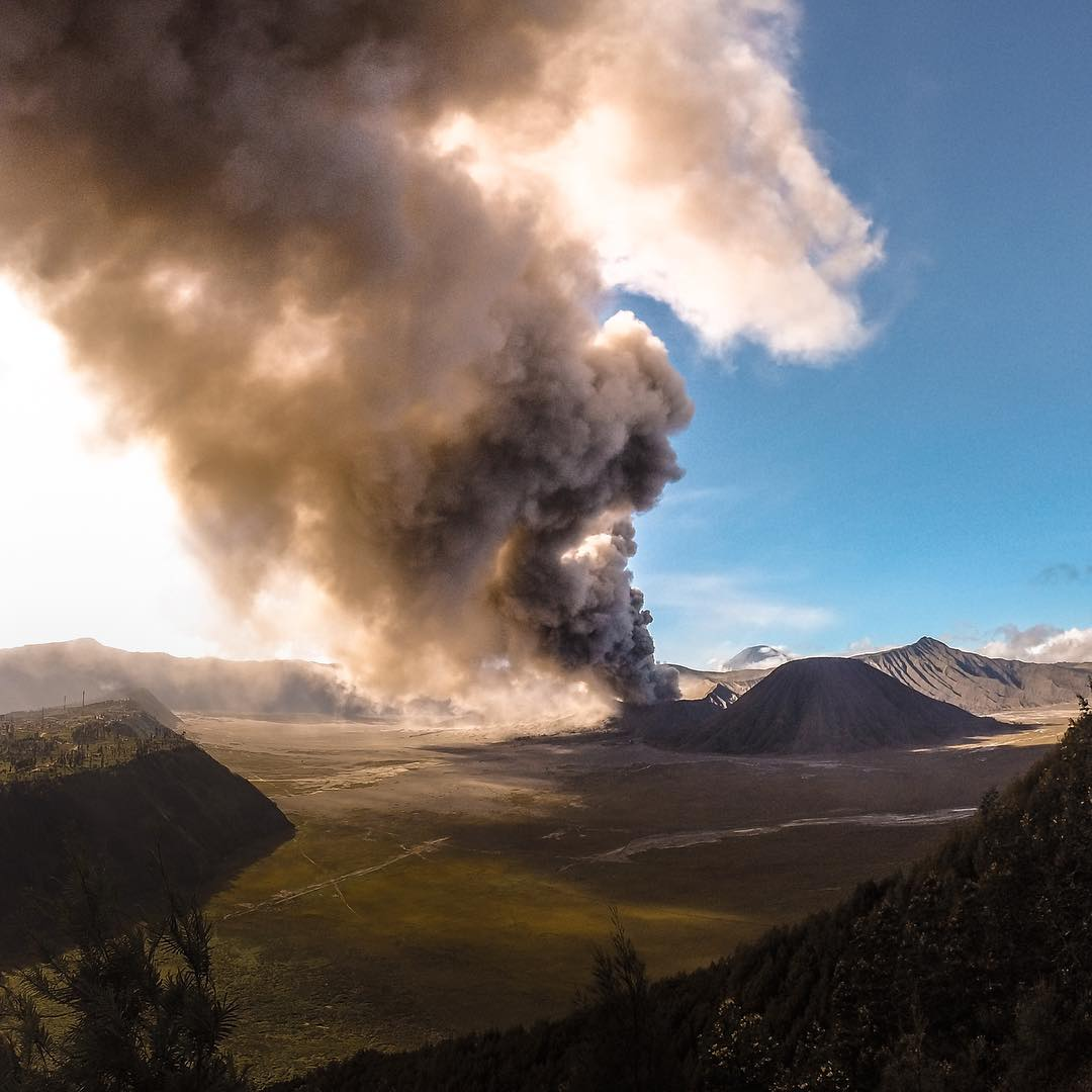 "Photo of the Day! @khyathi124 captures the #mtbromo volcanic eruption in December 2015 from across the Segara Wedi or ""Sea of Sands."" Experiences the power of Mother Nature? Share with us via #GoProAwards link in our bio! #GoPro #Volcano"