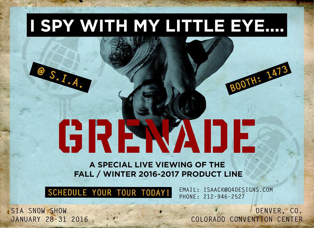 I spy with my little eye...GRENADE! @siasnowsports show! Schedule your tour today!  #grenadegloves  #snowboarding  #siasnowshow