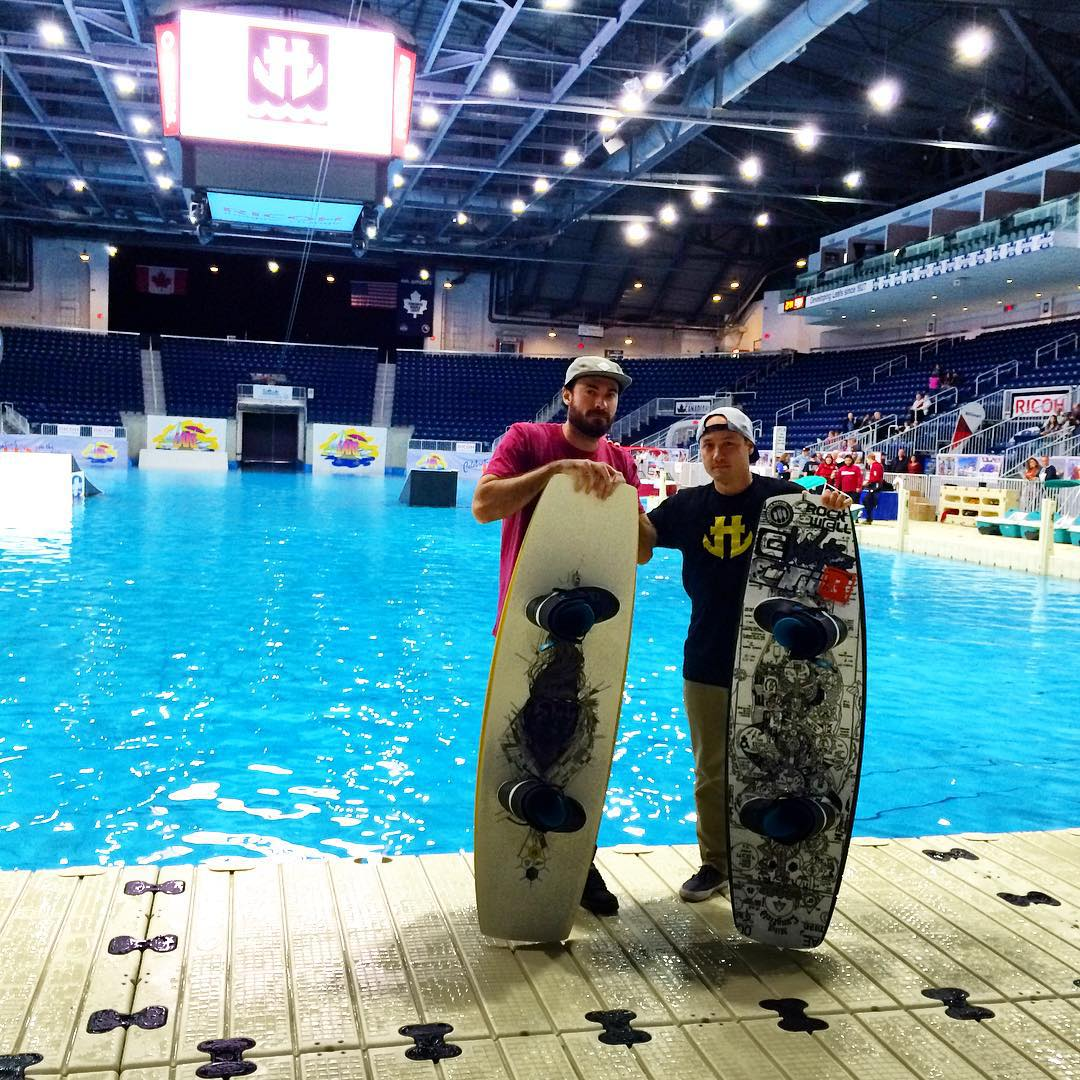Our boys @markrugala and @clayton_underwood up at the @torontoboatshow last weekend showing off the new 2016 O'shea and Langfield park boards during the indoor wake demos. #wakeboarding