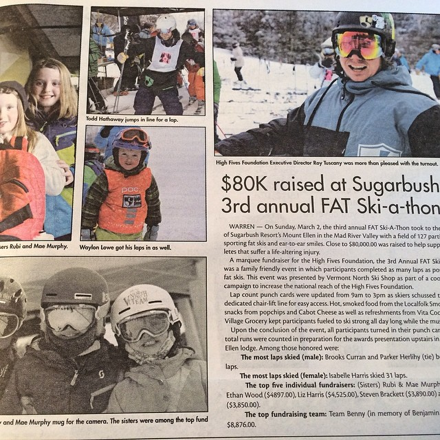 Thank you @vtnorthskishop and the @vtnorthproteam | $80,000 raised this year at @sugarbush_vt