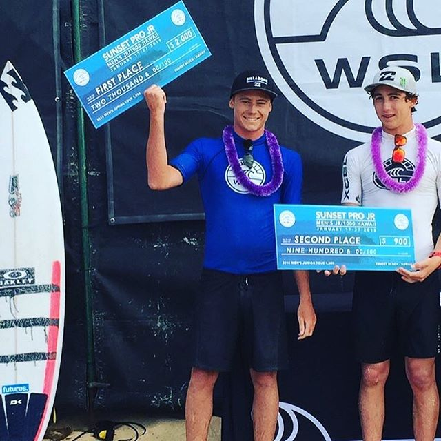 @rileylaing is your Sunset Pro Jr champ with @griffin_cola coming in a close second. A big congrats to these two! #Billabongbloodlines #lifesbetterinboardshorts @wsl