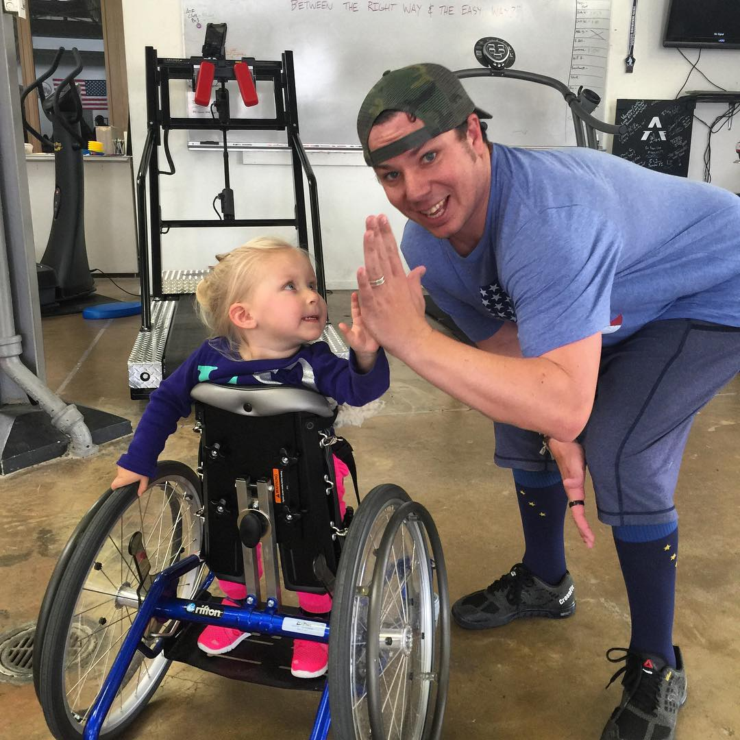We love giving out High Fives, this might be the cutest one to date, Callie Smith giving out High Fives yesterday at @adaptivetrainingfoundation to #Highfivesfounder Roy Tuscany