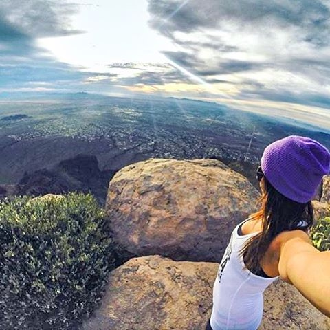 Hike life  @leahjoylove summiting Superstition Mountain in the Lilac Beanie  Two new beanies are now up on the site!! Have a KZ Beanie? Hashtag #kzbeanie in your pics or DM them for a chance to be featured!  #Kameleonz #hiking #LifesABeach...