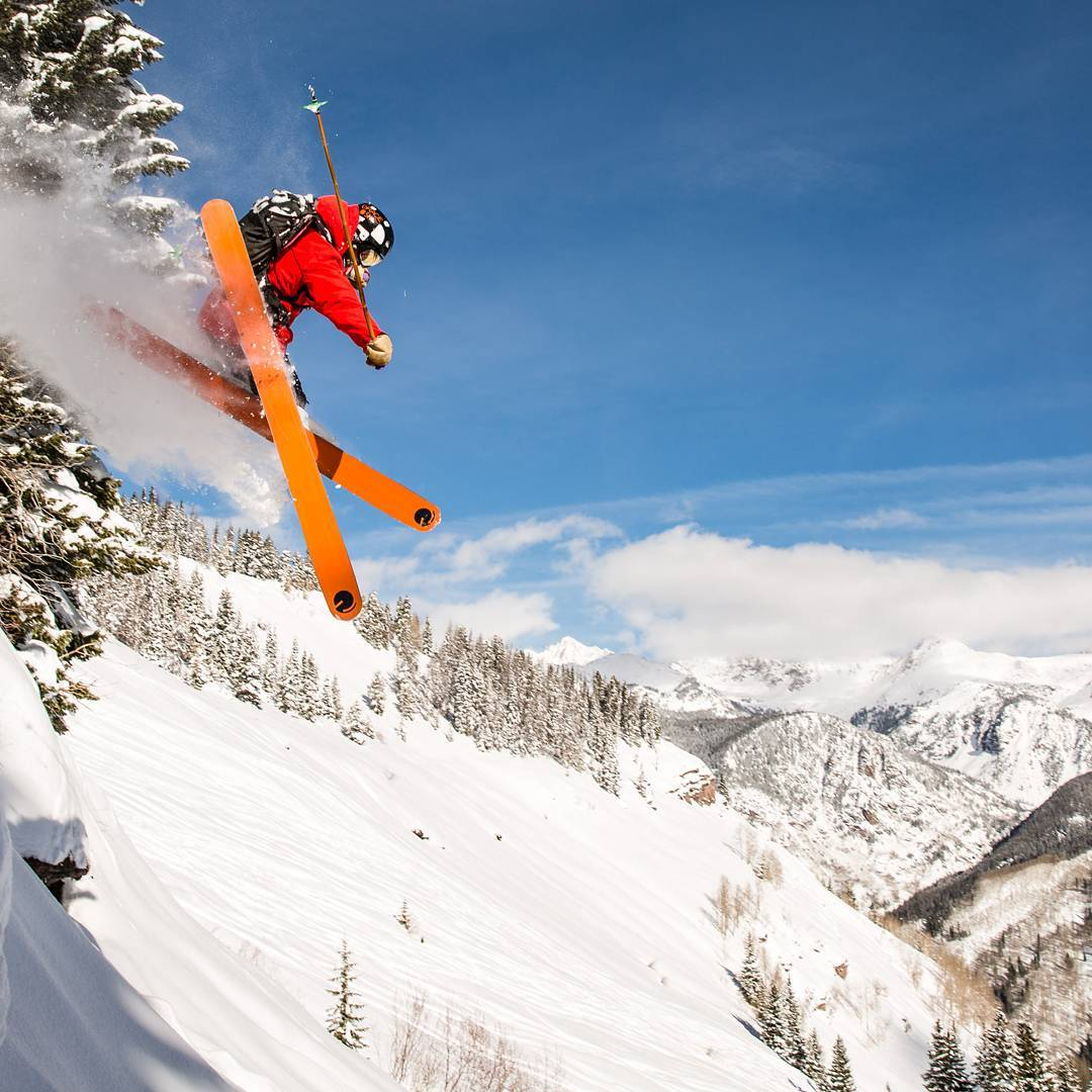 Athlete Sean Delaney airing it out in our backyard up here in the eagle river valley yesterday morning. Things are taking off up here both in and out of the factory. #orangehot #locallymade