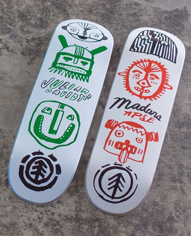 "two new 'Indigenous' decks available today, one for birthday boy @_julian_davidson (8.25"") and one @madarsapse (8"") >>> art by Mason McFee, check him out at @mase_man >>> link in our bio to take a closer look #elementskateboards"