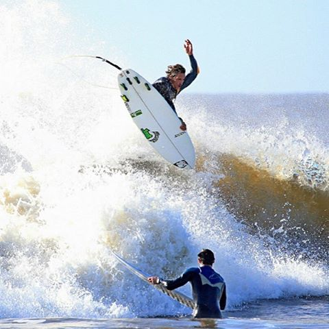 @kbusey7 flinging four fins in Folly Beach.