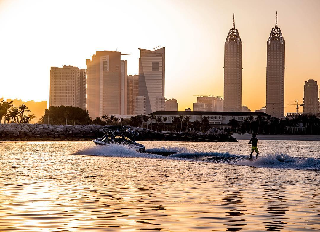 Would you like to wakeboard here? If you followed our Snapchat last week you probably have seen  @austinhair testing Jobe's new boating wakeboard in Dubai. We could not withhold you this great photo!