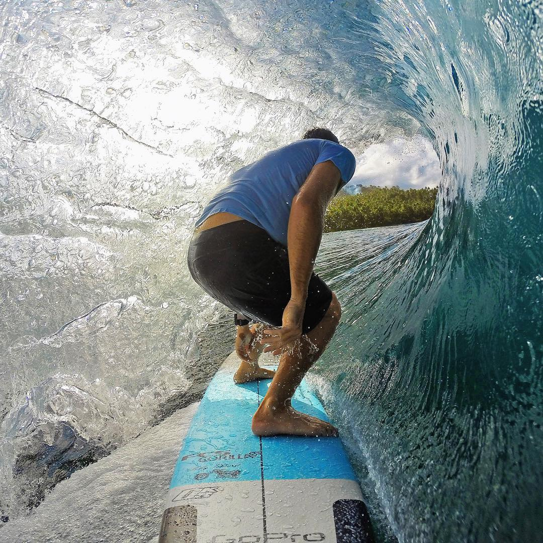 #GoPro Featured Photographer + Athlete @harleyingleby  About the shot - This is hands down my favourite surf capture + it was shot on my #HERO3+ Black  back in May 2014 at the Telo Island Lodge, Indonesia. One of the best longboard sessions of my life!...
