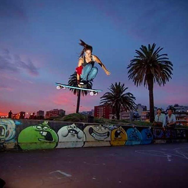 Our super rad LGC Uruguayan Ambassador @melissa.rebollo is an air master. Brutal Mel!  Rocio Pilar photo.  #longboardgirlscrew #womensupportingwomen #skatelikeagirl #melissarebollo #lgcuruguay