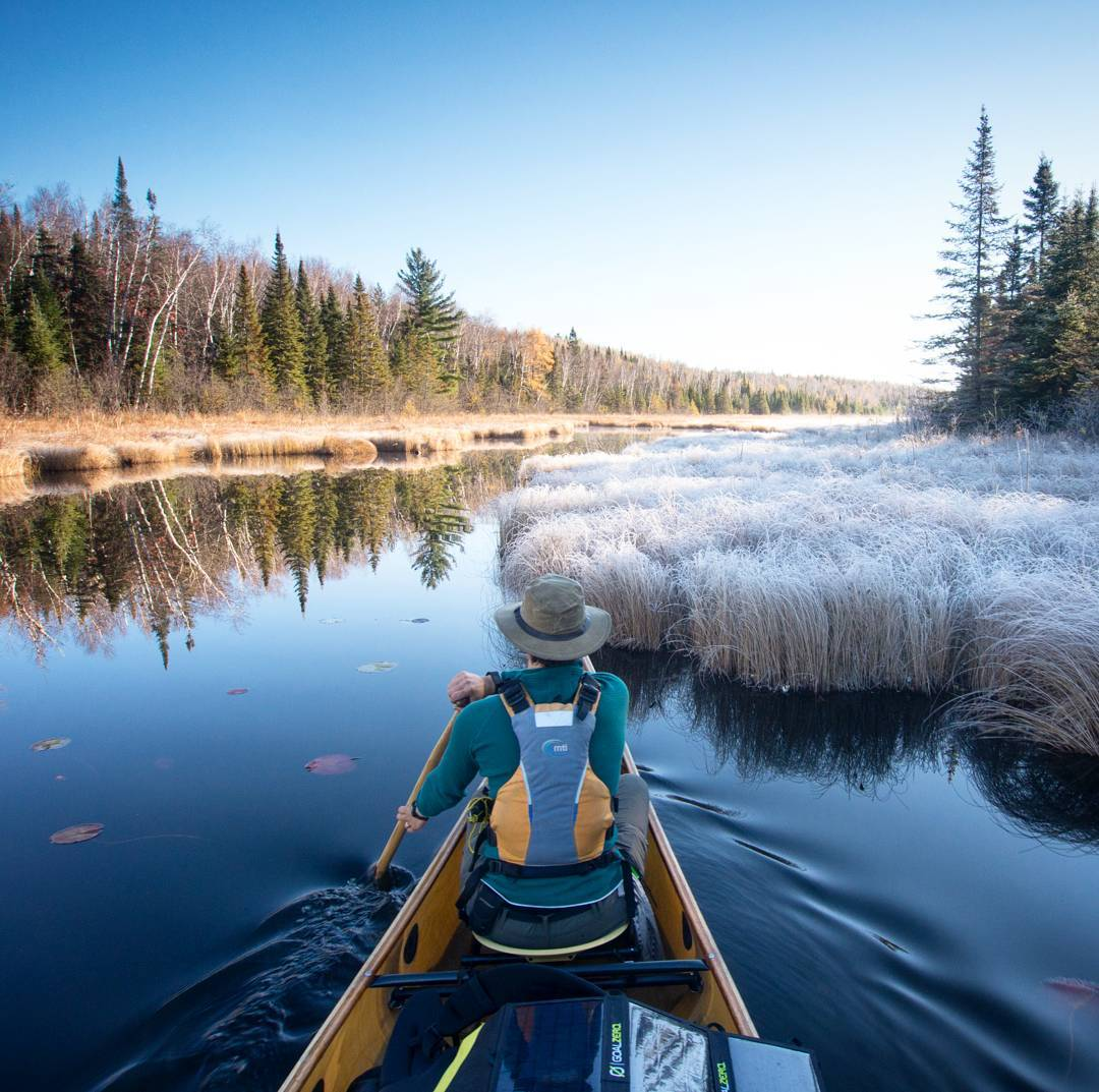 """We paddled down a narrow creek as the sun rose above the trees and began melting the frost. It was like nothing I had ever seen before and the beautiful scene has not repeated itself since that magical morning."" -Amy and Dave Freeman (@freemanexplore)..."