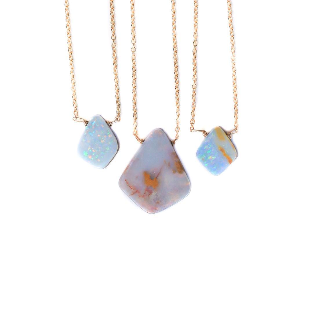 Simple Opal Necklace for layering with your favorite inspiration pieces!  Australian Boulder Opals are all one of a kind!  #Sunday #classy #klossy #juliaszendrei #boulderopal #weddingstyle #bridesmaid #ss16 #travel #inspo