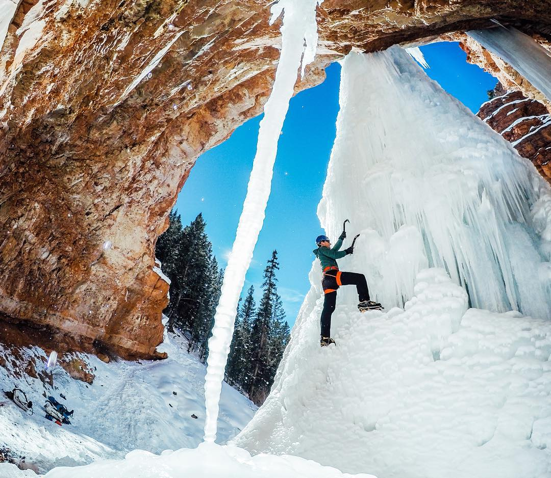 Photo of the Day! You know what time it is! Sharing #GoProAwards recipient @brett_schreck and this awesome capture of climber @mountains62 scrambling a frozen waterfall at #CornetFalls outside #Telluride, Colorado. #GoPro