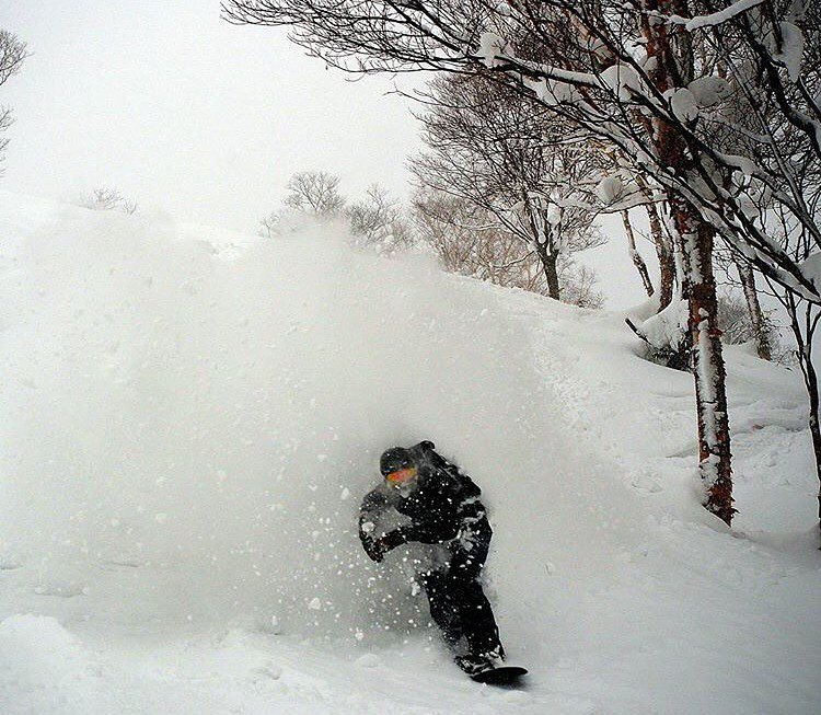 @evanwilcox emerging from the White Room in #Niseko #Japan |