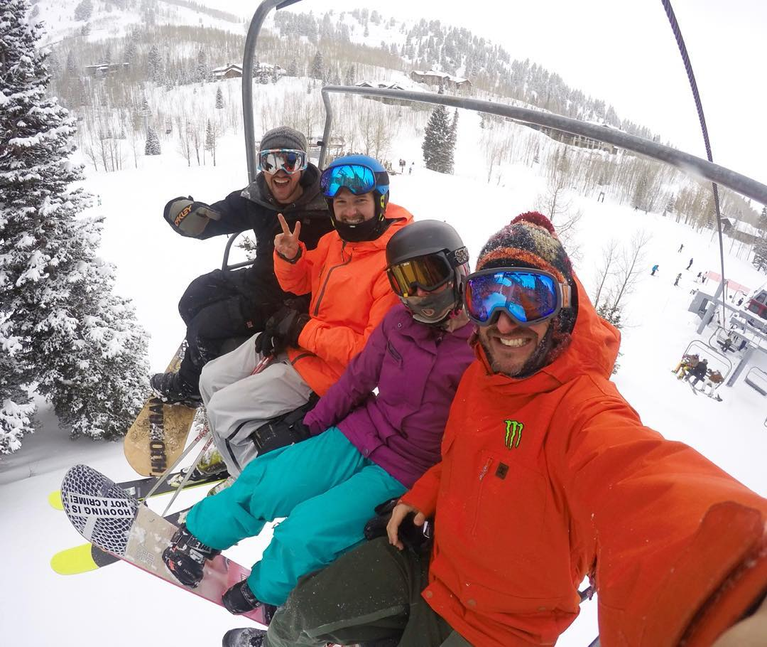 Rode powder today at #ParkCity with a fun group of friends, including these three: @Forest_Duplessis, @AndreasBakkerud, and wifey. Snowboarding in powder is one of the best ways ever to recover from jet lag, right? Ha. #goodtimesgoodpeople #jetlagcure...