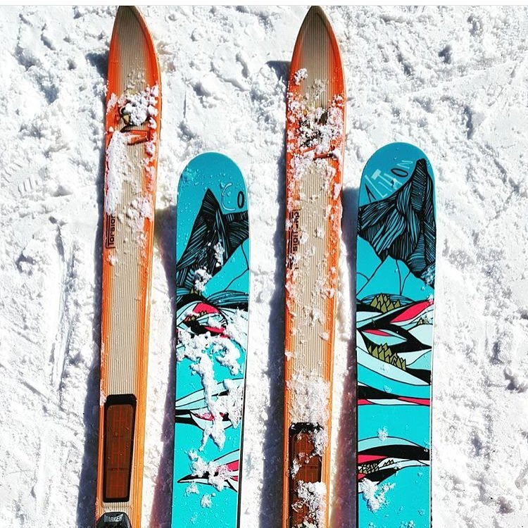 When old school meets new school; @mountainmavenco captured the contrast.  #sisterhoodofshred #skiing #skinnyskis #snow #mountains #winter