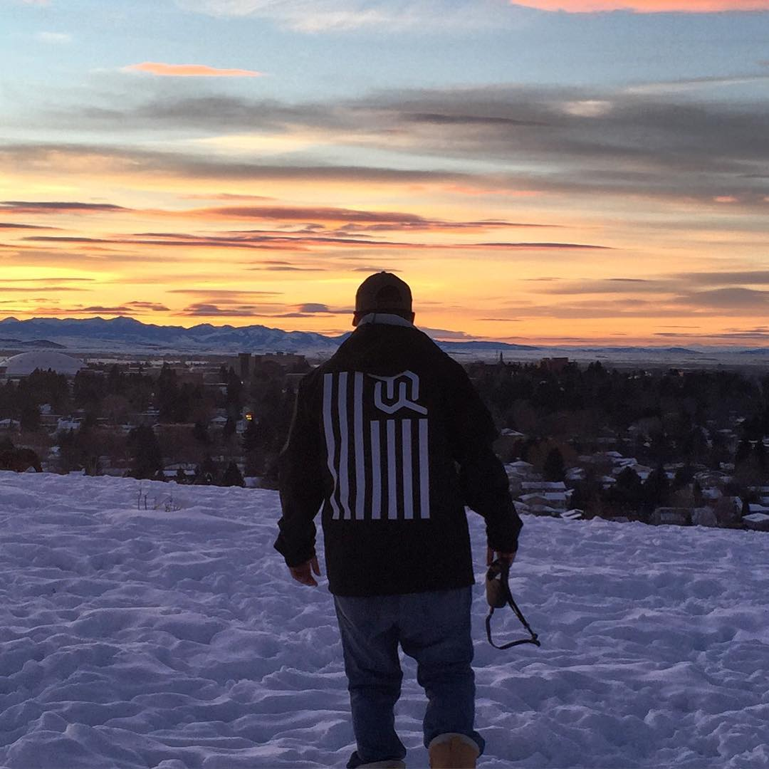 Great shot @hollymkey @zayjmad191 #justsendit #sunrise #skiing #snowboarding #montana #mountains #WhoaBrah