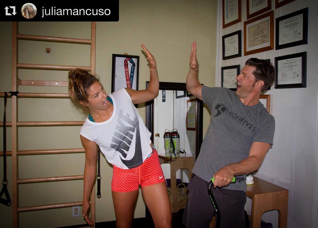 "Some of my most inspired workouts have been with this amazing #StokeJedi.  I'm kicking this #MotivationMonday off with some empowering thoughts from #olympicgoldmedalist & dear friend, @juliamancuso: ""Injuries don't hold us back, they make us stronger,..."