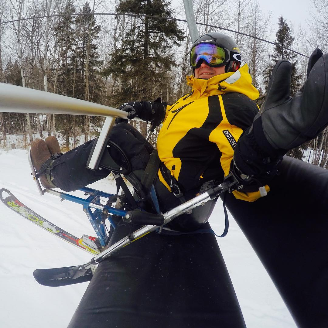 Giving out high fives from the chairlift! #highfivesathlete