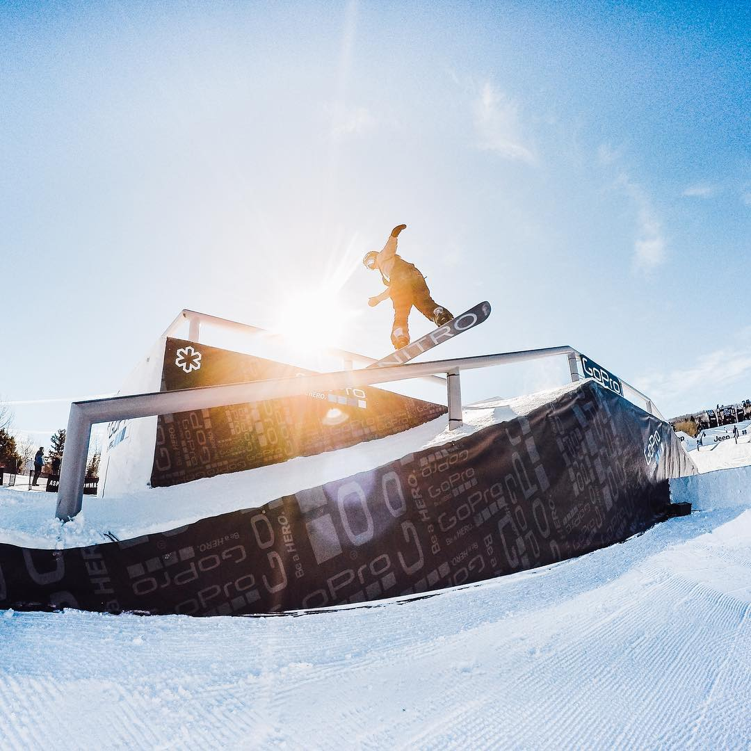 Photo of the Day! @sventhorgren eating rail during his #slopestyle course preview. So amped for Day 1 at #Winter @xgames!  #GoPro #GoProSnow #