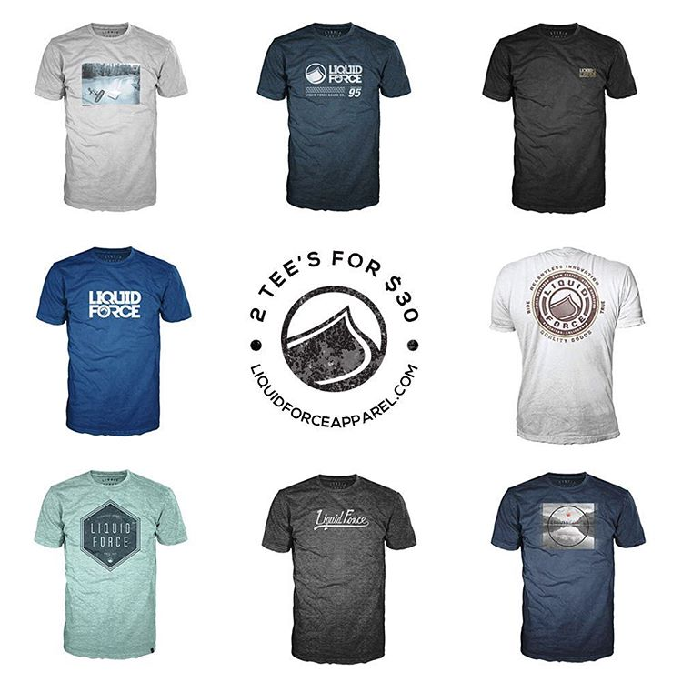 Any 2 Short Sleeve Tees in stock for $30. Men's and Women's. Sale goes through the end of the month.  CODE: 2TEES liquidforceapparel.com  #LiquidForce #apparel #sale #getitwhileitshot