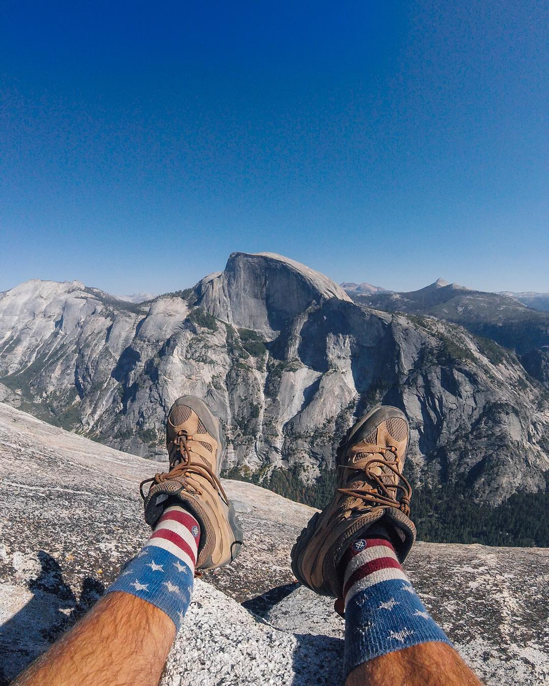 #TBT to a hot summer day hike at one of America's iconic parks, @yosemitenps. (Thanks for the photo + we love the socks @mikemaholias!) Share your best throwbacks with us via #GoProAwards link in our bio. #GoPro #Merica #
