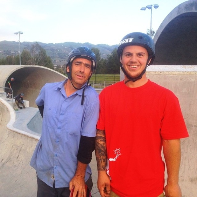 #Bult Olympian Trevor Jacob and #Legend Lance Mountain out for a skate! @gkc4life @lancemountain #bulthelmets