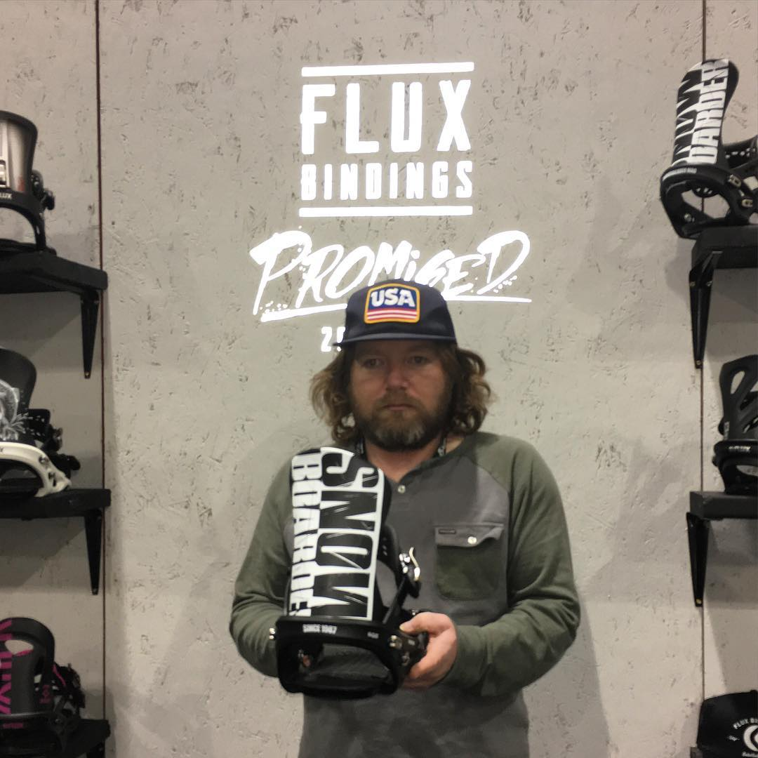 """The editor of @snowboardmag, Pat """"the eye"""" Bridges has his eye on the new Flux and Snowboarder Magazine collaboration TEAM bindings. You know he'll be riding them along with many pro riders in the 2016/17 season. Stop by the #sia16 booth if you are at..."""