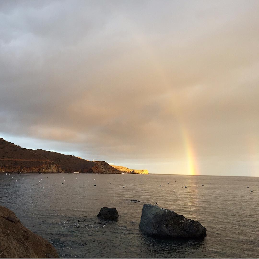 What a way to start the day? #ASCmicroplastics adventurer Sarah Brand woke up to this #rainbow while camping in Two Harbors on Catalina Island. #wakeupcall #adventurescience
