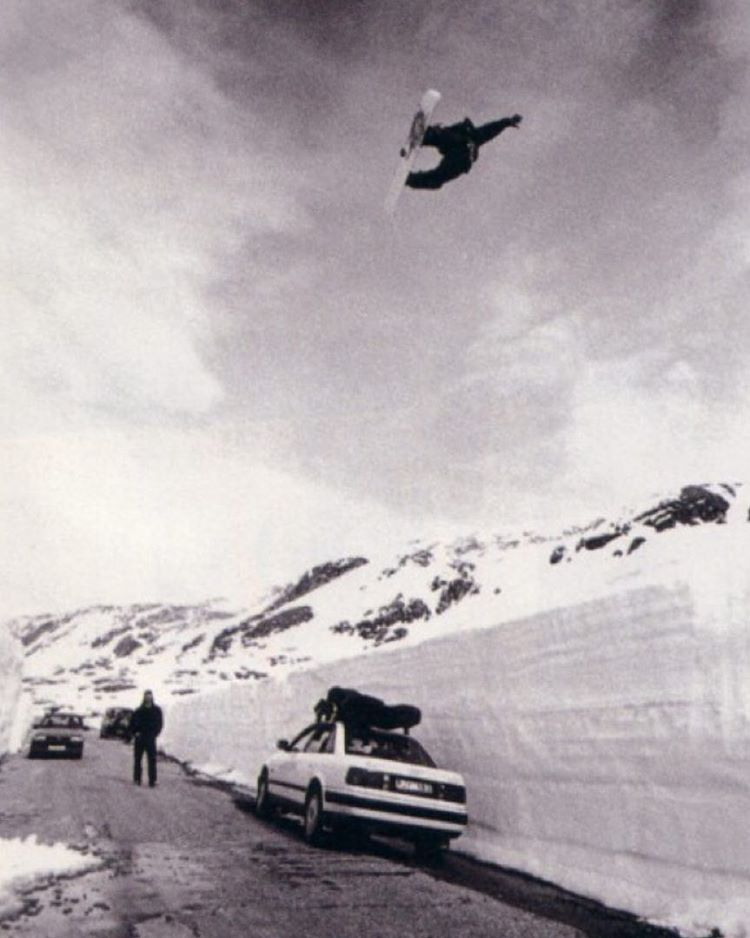 """Jamie Lynn, 1994. """"What this picture basically said and did to snowboarders around the world is this: we can do whatever the fuck we want and it's not just a new way to get down the mountain it's a new way to look at snow."""" - Mike Ranquet Photo: Jon..."""