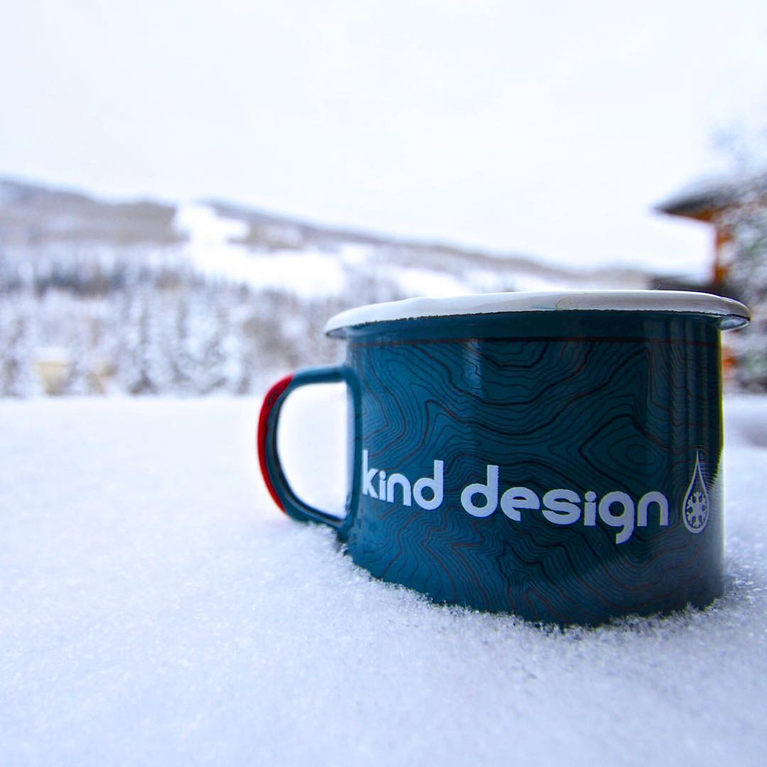 "Kind Camp Mug GIVEAWAY! To enter: Tag a friend and tell us what your favorite Kind Design product is. 11"" fresh in Vail... studying the topography before we hit the hill! #kinddesign #kindcamp #kindcampmug #campmug #vail #vailco #colorado..."