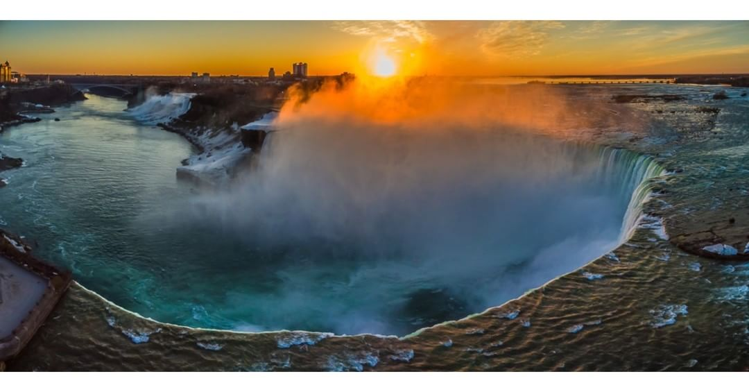 Niagara Falls at Sunrise  Credit: Pixels in Motion | #Inspire1 #NiagaraFalls  Use #IamDJI to share your aerial creations with us!