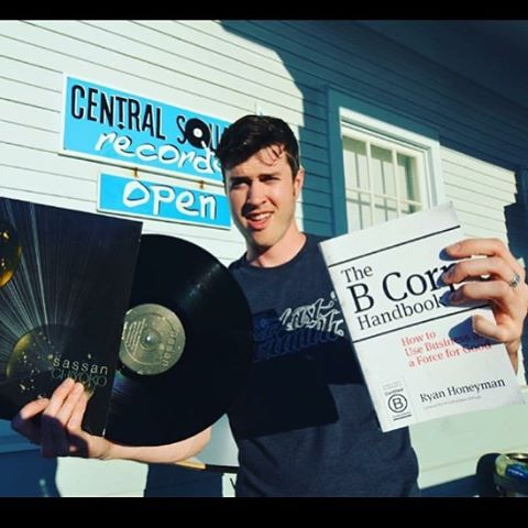 B Corp @lasttriumph showing that new vinyl with the B Corp logo and some suggested reading for his listeners. Did you know Last Triumph is the world's first and only Certified B Corp record label company? What music inspires you? #BtheChange