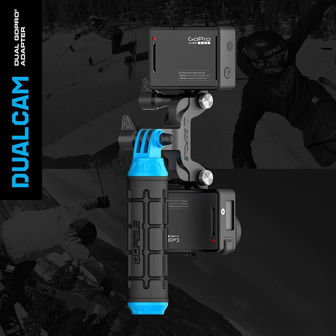 Introducing: Dualcam - Dual GoPro Adapter. Use two GoPro cameras at once with Dualcam. Whether you are using one camera to film video and the other to take photos, or using different frame rates and settings on each camera, Dualcam adapter allows you...