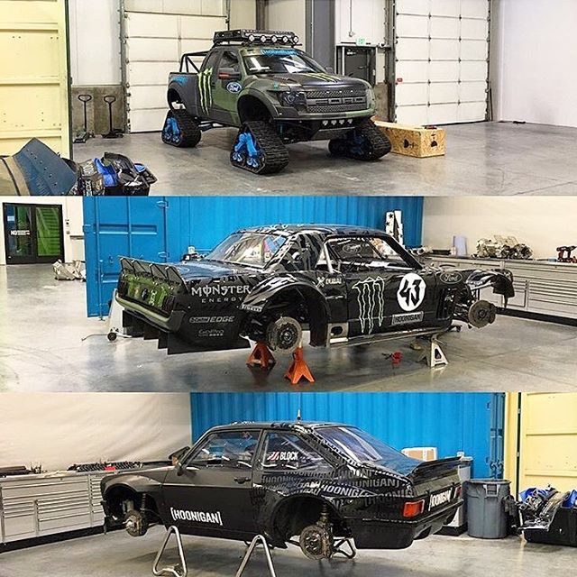 #Regram from @AndreasBakkerud: which of my vehicles currently at the #HRD_HQ is your favorite? #RaptorTRAX #Hoonicorn #GymkhanaEscort