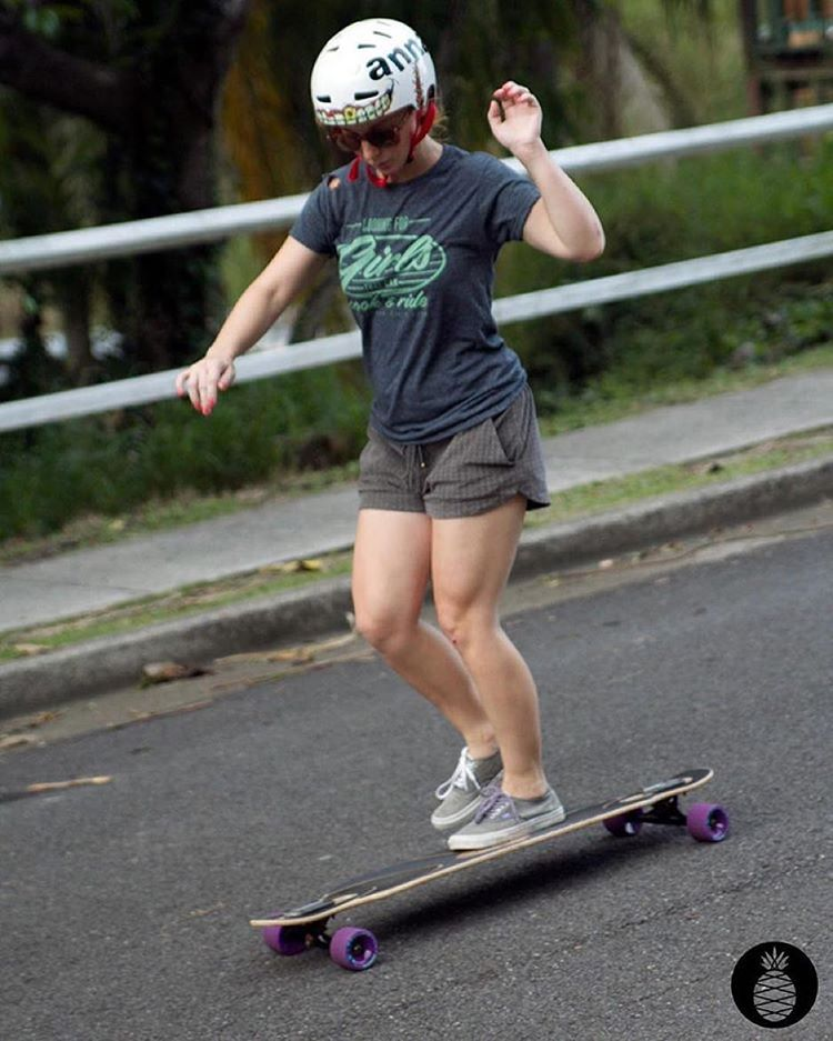 Our LGC Vietnamese & @vietshred Ambassador @annanas_selina boarwalking in our LGC T-shirt. Go to longboardgirlscrew.com to get yours and support our work