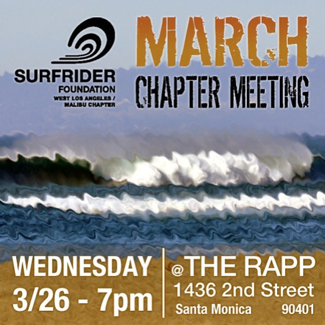 If you are interested in checking out @surfrider come out to the first chapter meeting of the month in Santa Monica tomorrow at 7pm! Should be fun times, awesome people and good treats!!! See you there! #surfrider
